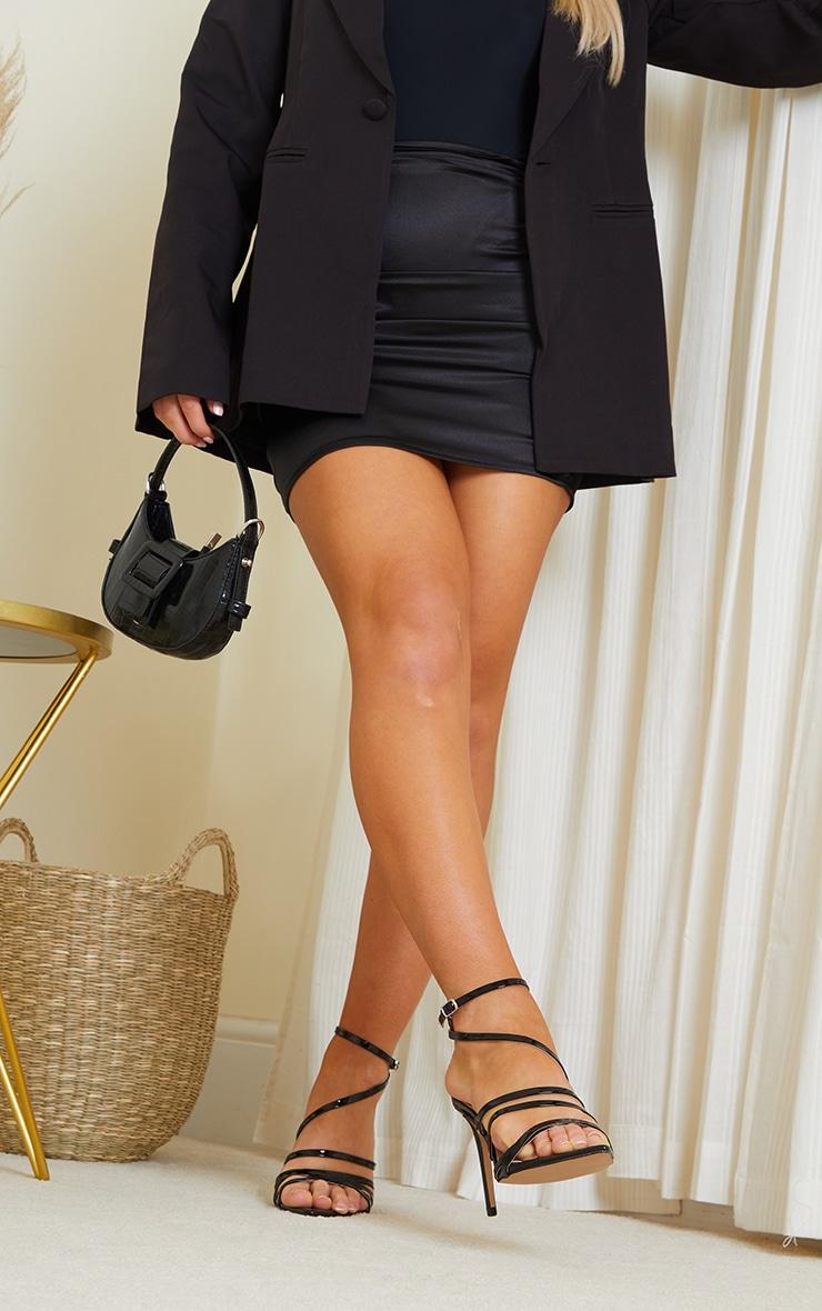 Black Wide Fit Point Toe Strappy Stiletto Heels 2