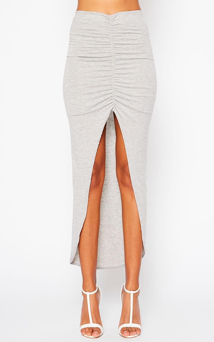 Omari Grey Ruched Front Jersey Maxi Skirt 2