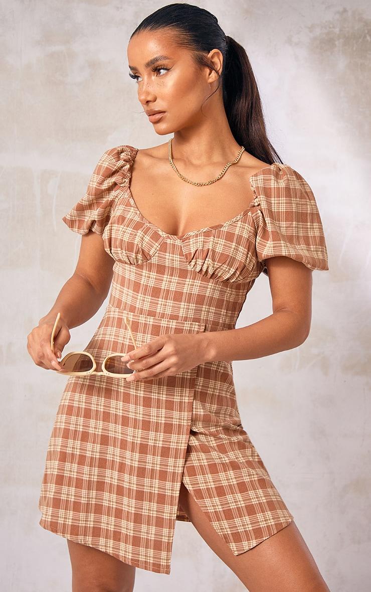Brown Check Print Bust Detail Cut Out Shift Dress 1