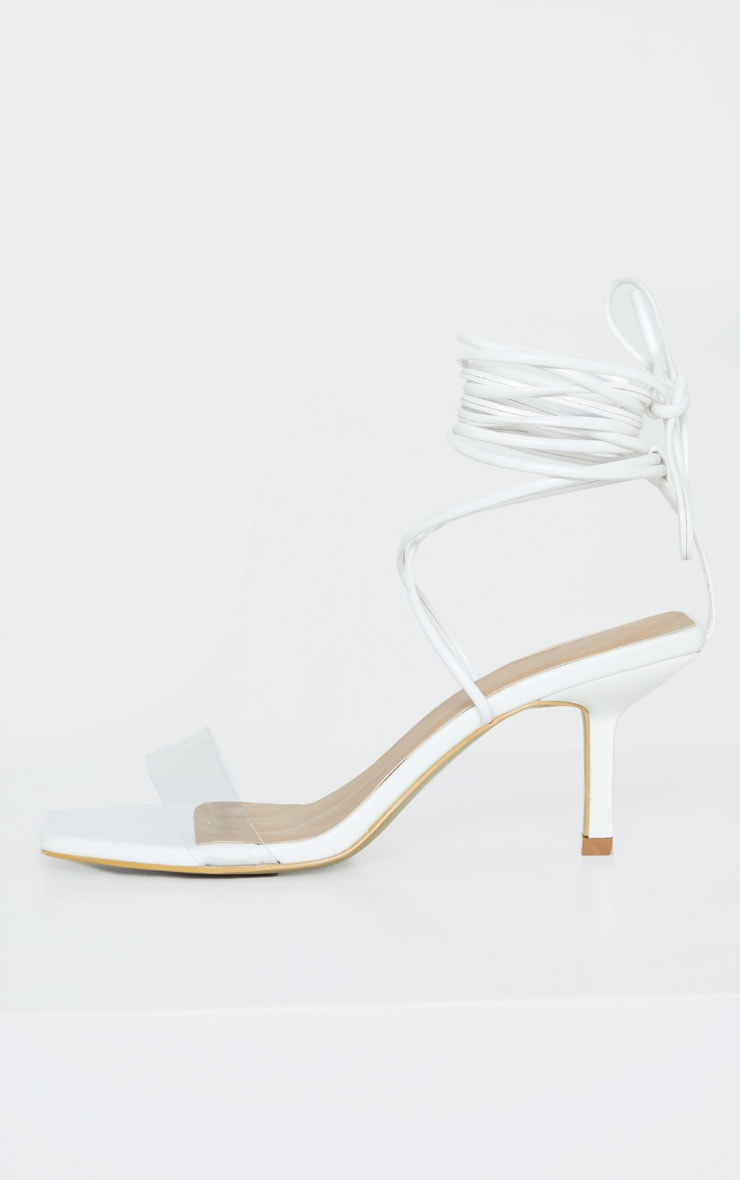 White Low Heel Clear Strap Ankle Tie Sandal 3