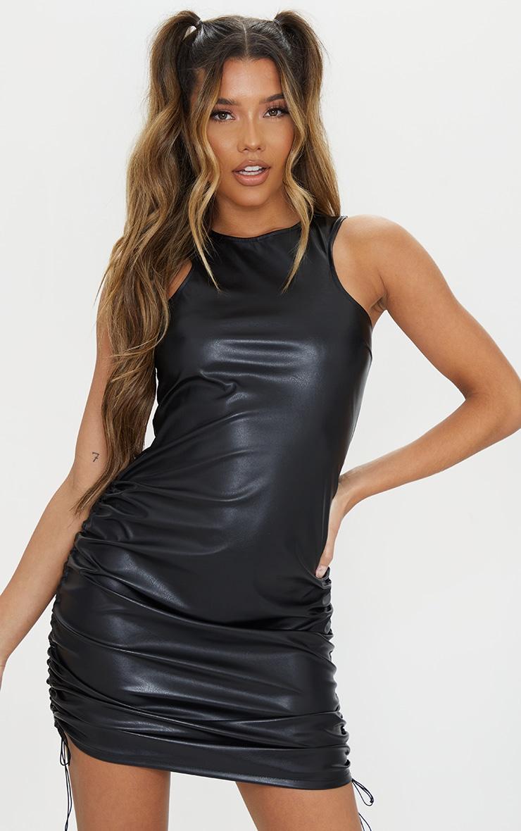 Black Pu Sleeveless Ruched Side Bodycon Dress