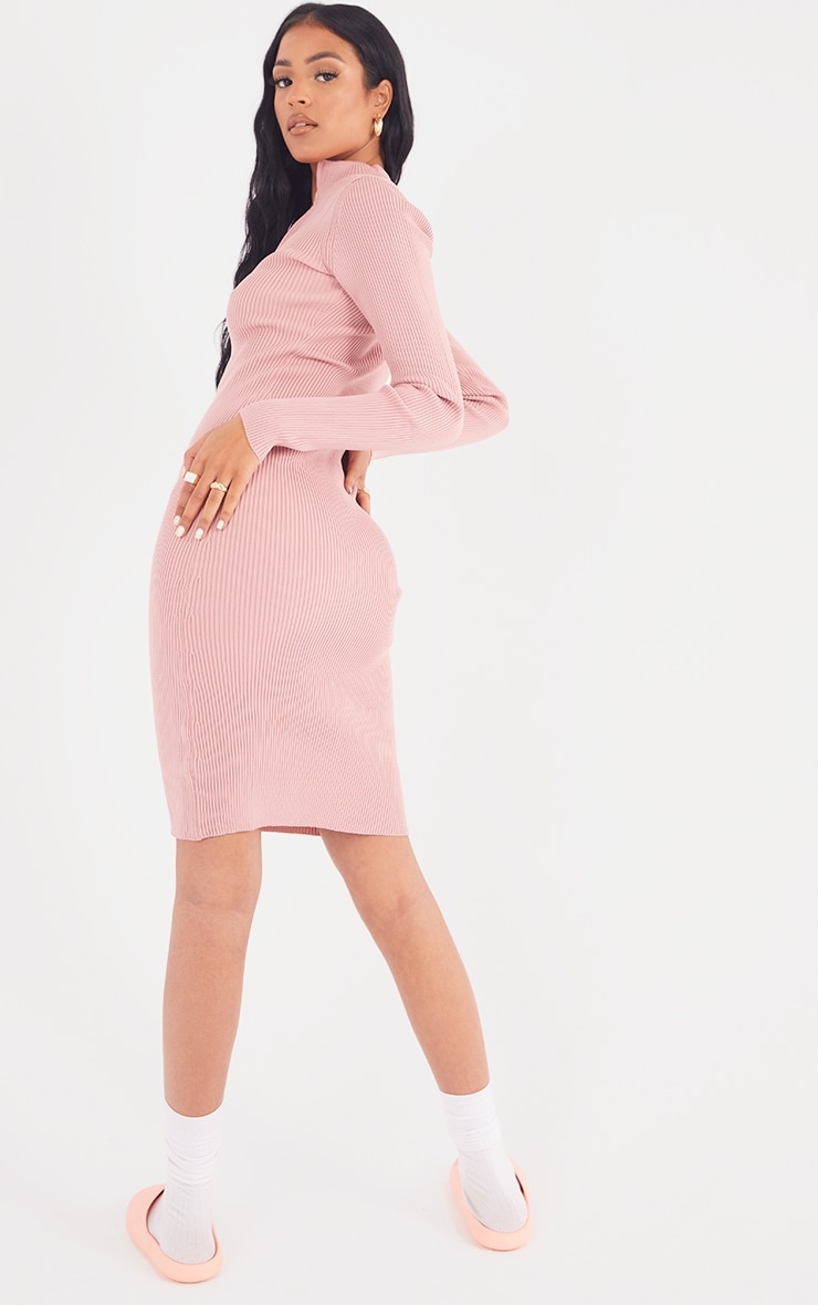 Tall Pink Zip Through High Neck Midi Dress 2