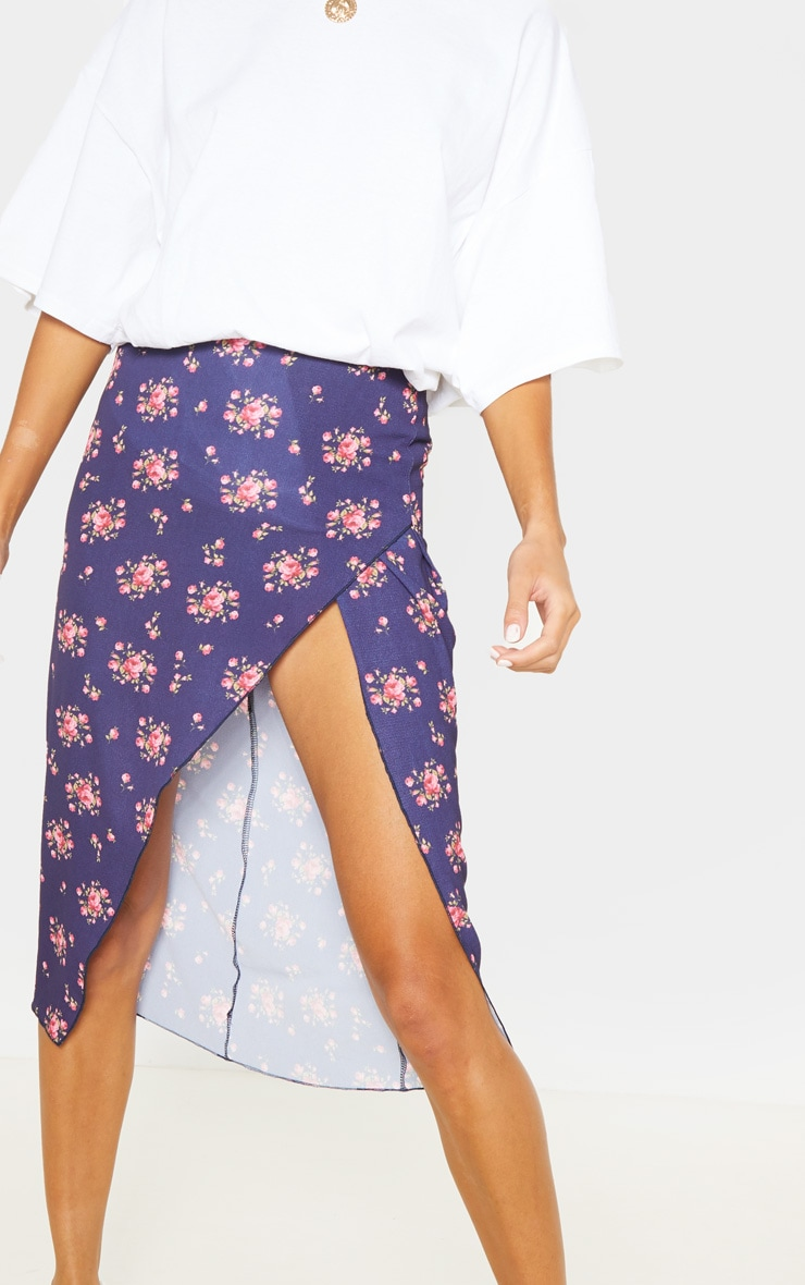 Tall Navy Ditsy Floral Wrap Pencil Skirt 5