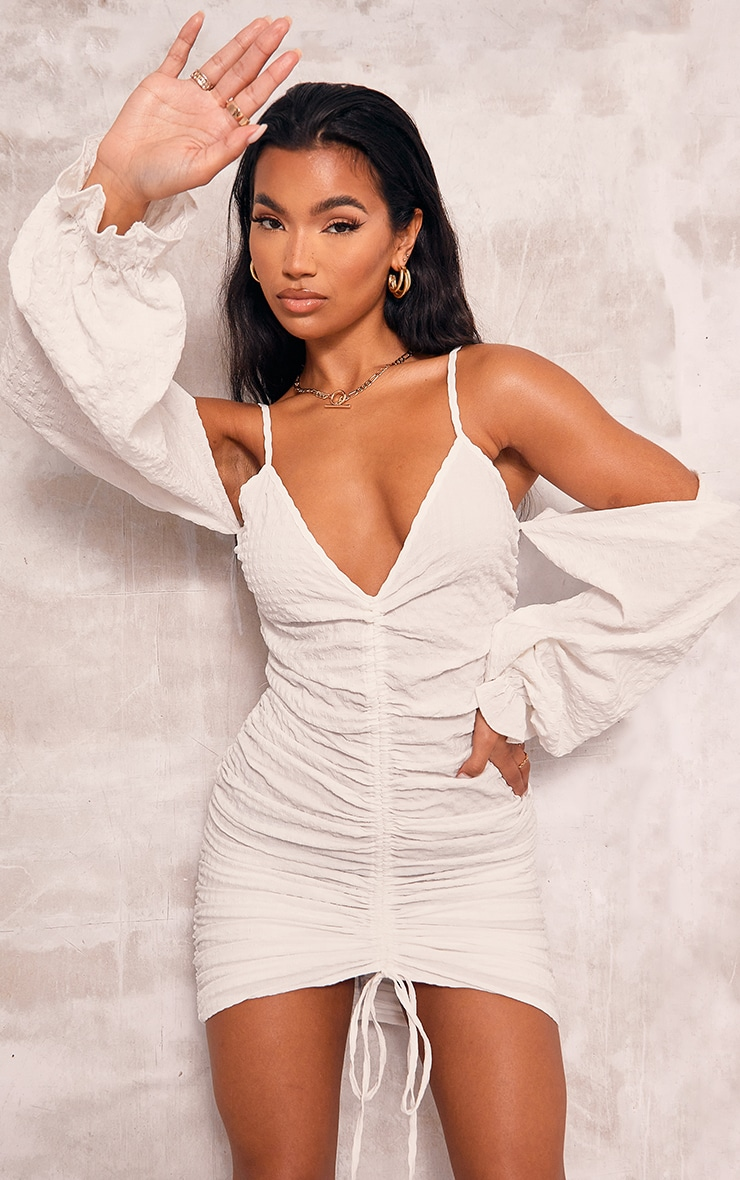 White Textured Cold Shoulder Ruched Bodycon Dress 1