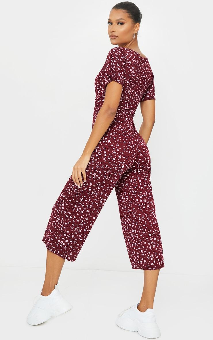 Burgundy Ditsy Floral Twist Plunge Culotte Jumpsuit 2