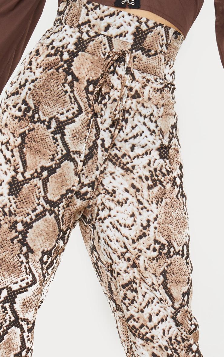 Brown Snake Print Paperbag Waist Tapered Leg Trouser 5