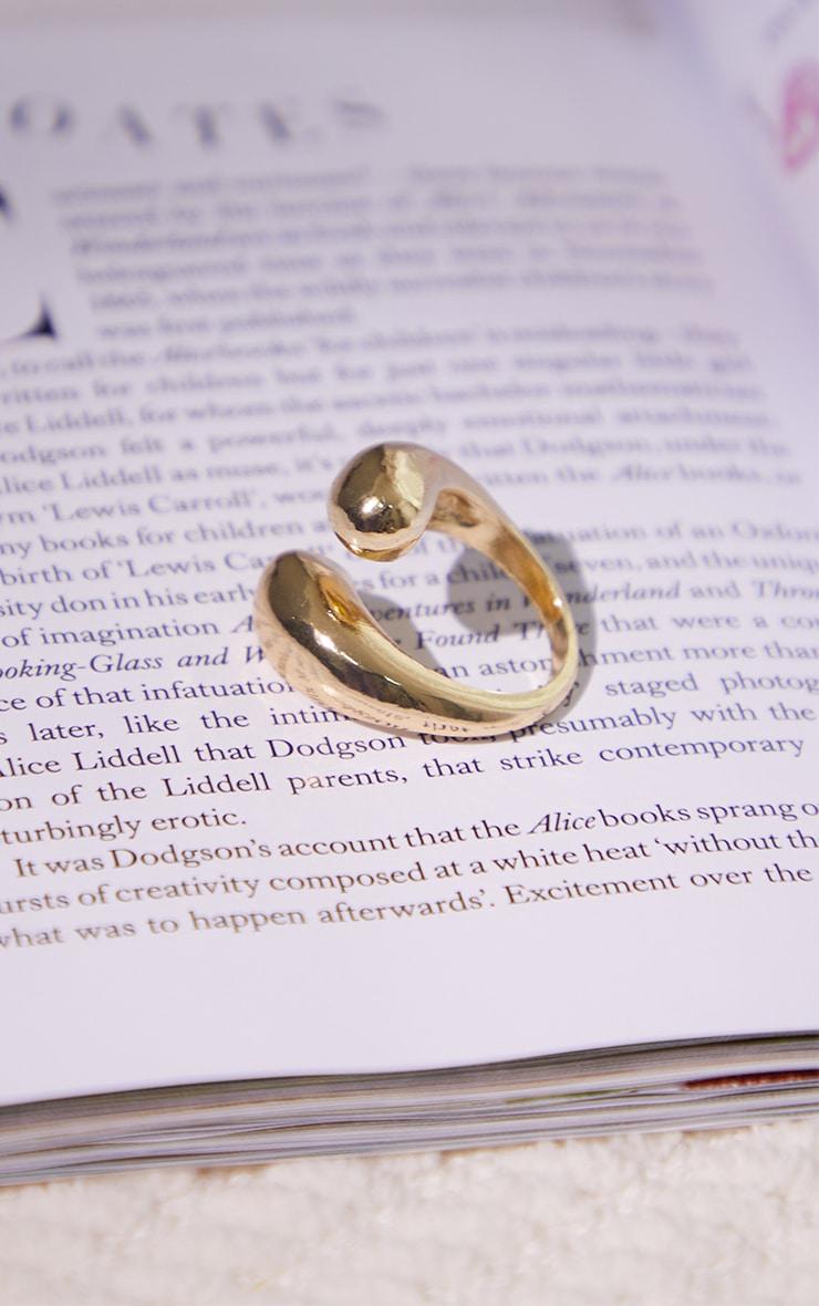 Gold Chunky Overlap Twist Ring 2