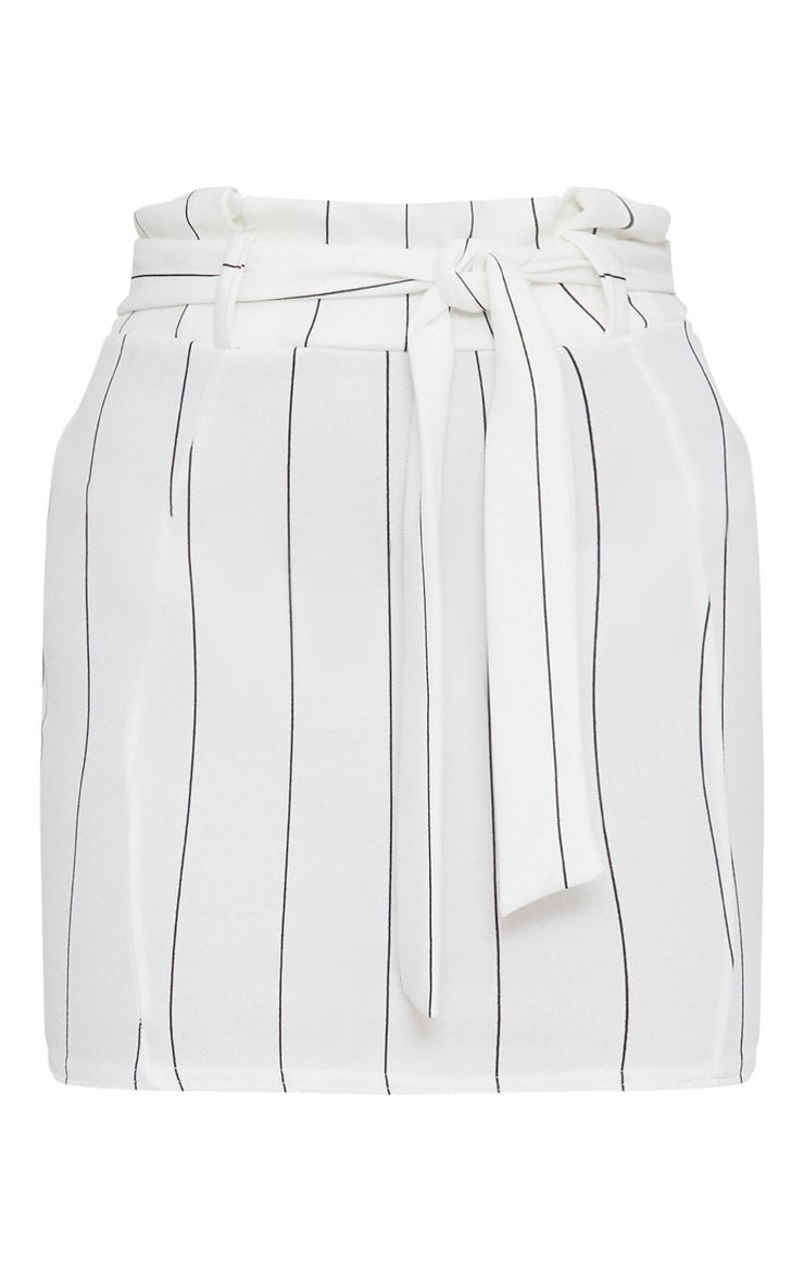 White Pinstripe Tie Waist Mini Skirt 3