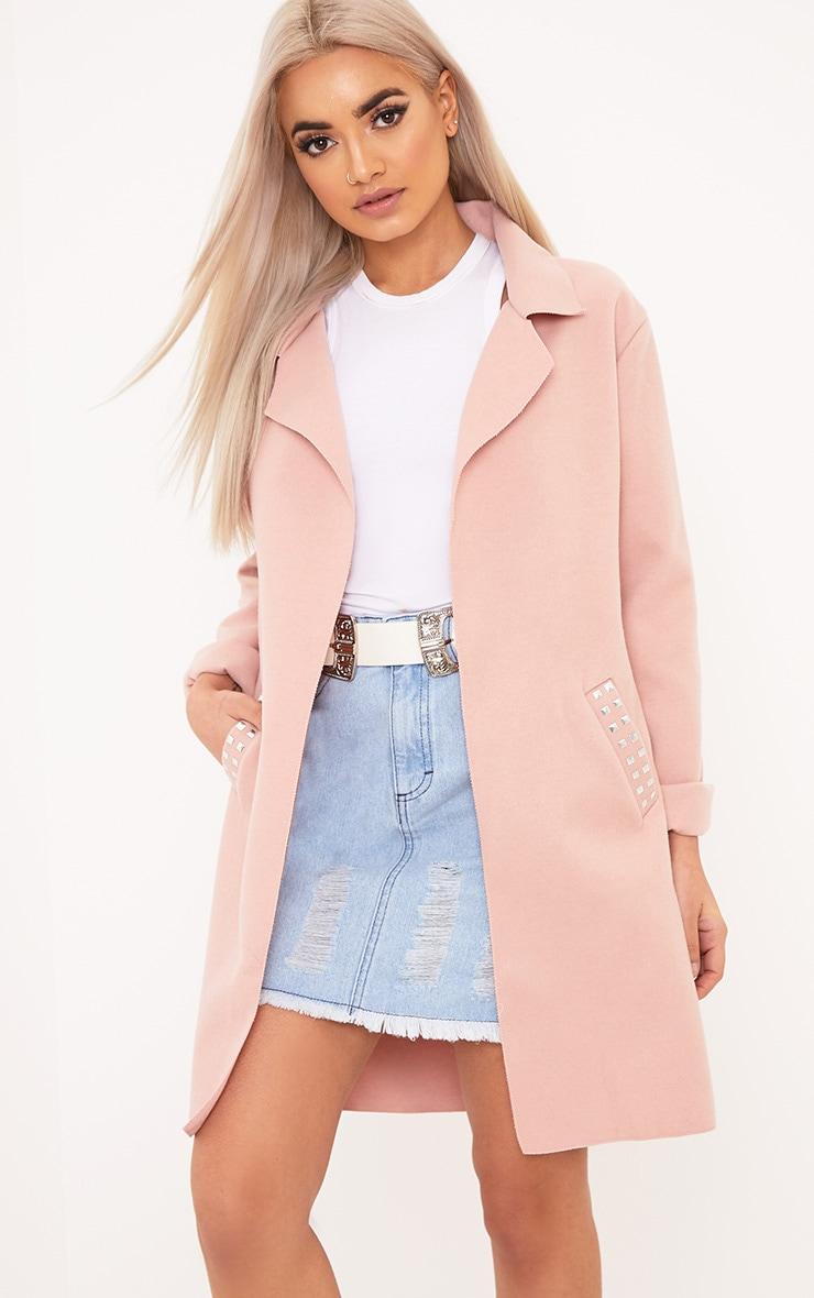Bluebell Light Pink Stud Pocket Detail Coat 1