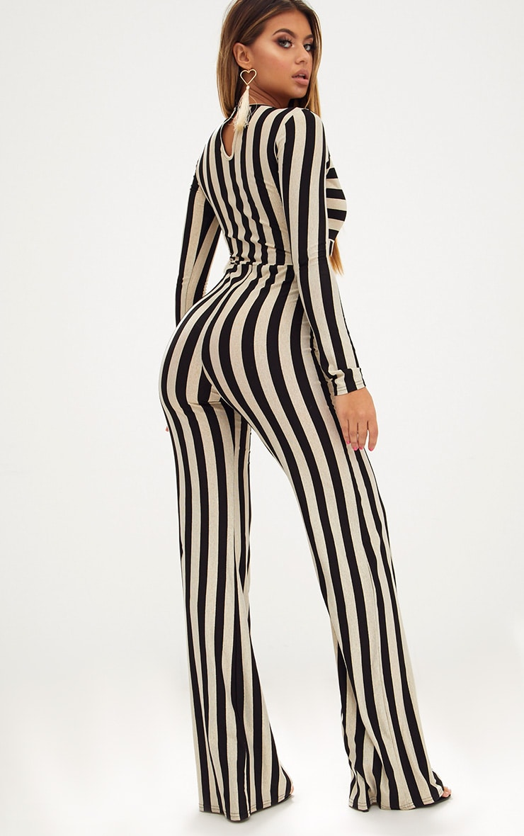Gold Striped Long Sleeve Plunge Jumpsuit 2