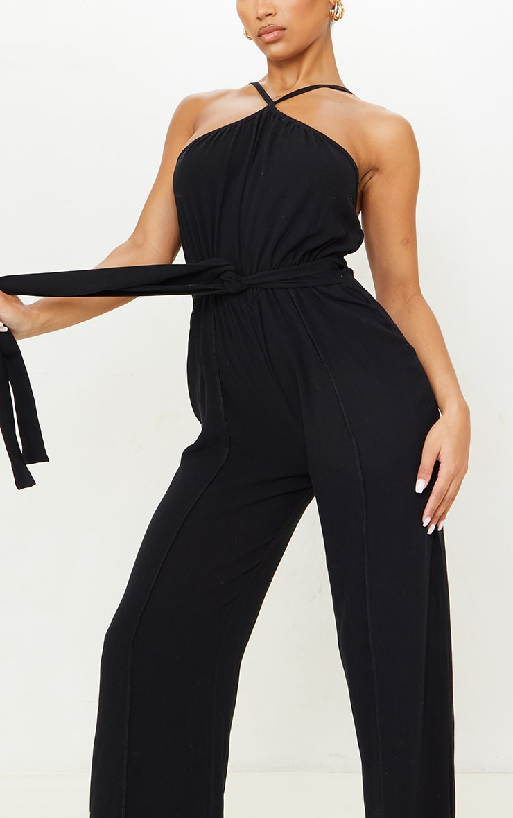 Black Linen Look Strappy Tie Waist Jumpsuit 4