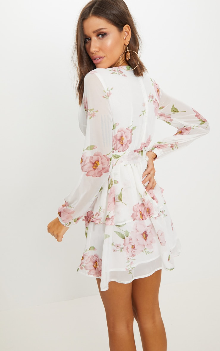 White Floral Chiffon Double Tier Plunge Skater Dress 2