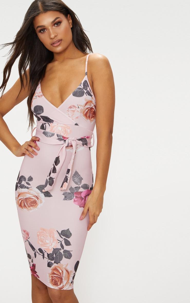 Dusty Pink Floral Print Plunge Tie Detail Midi Dress 1