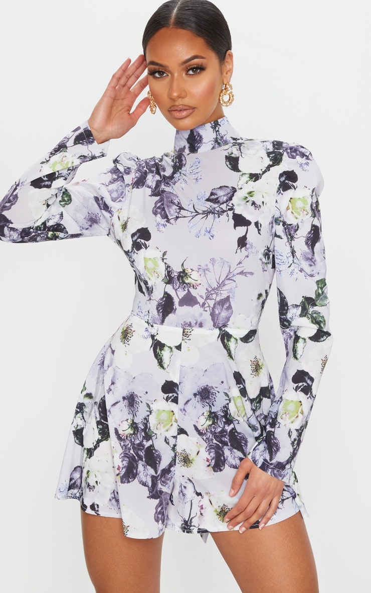 Grey Floral Print Backless Tie Back Playsuit 2