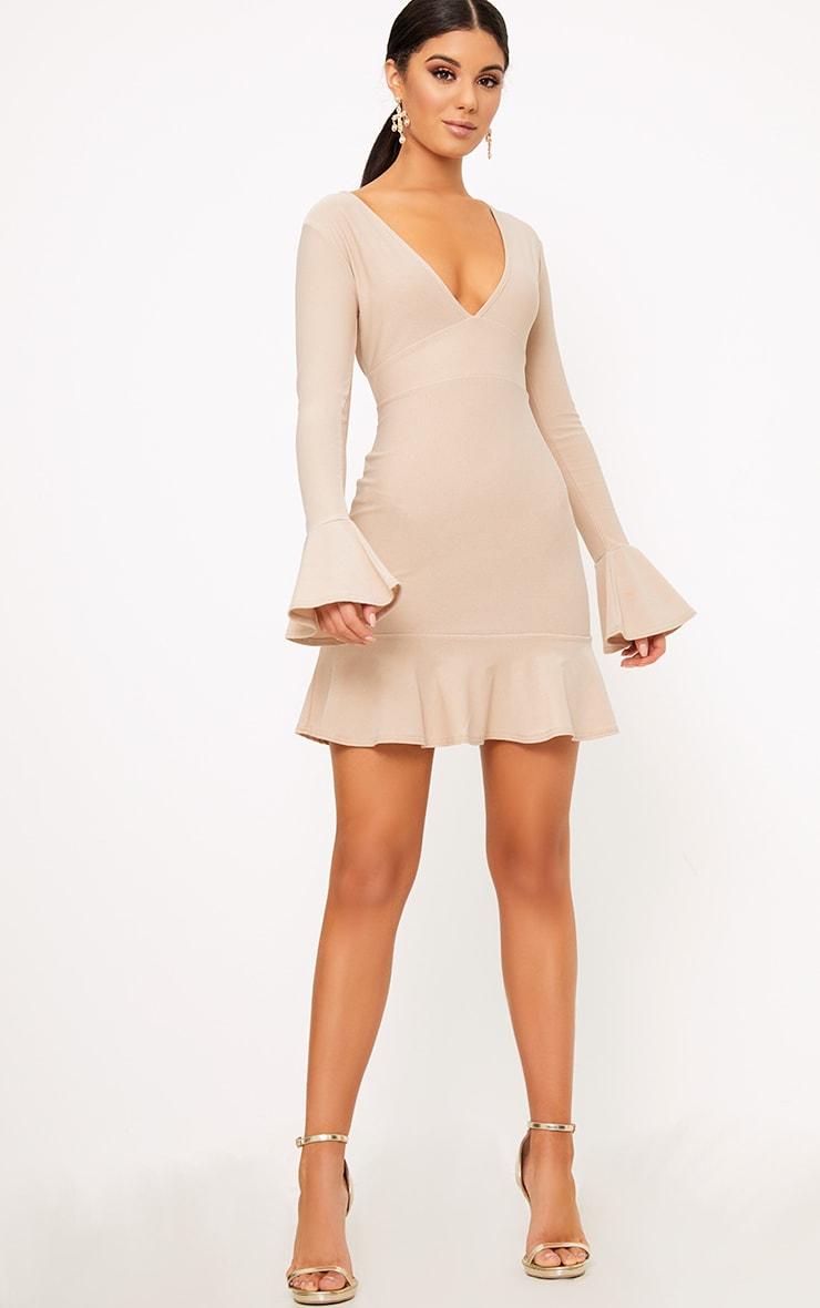 Nude Plunge Frill Sleeve Bodycon Dress 3
