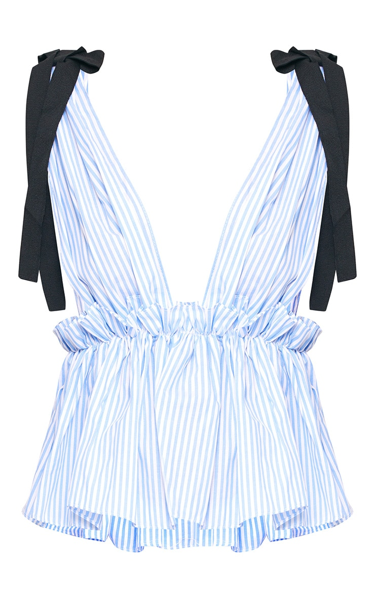 Blue Stripe Tie Shoulder Ruffle Sleeveless Shirt 3