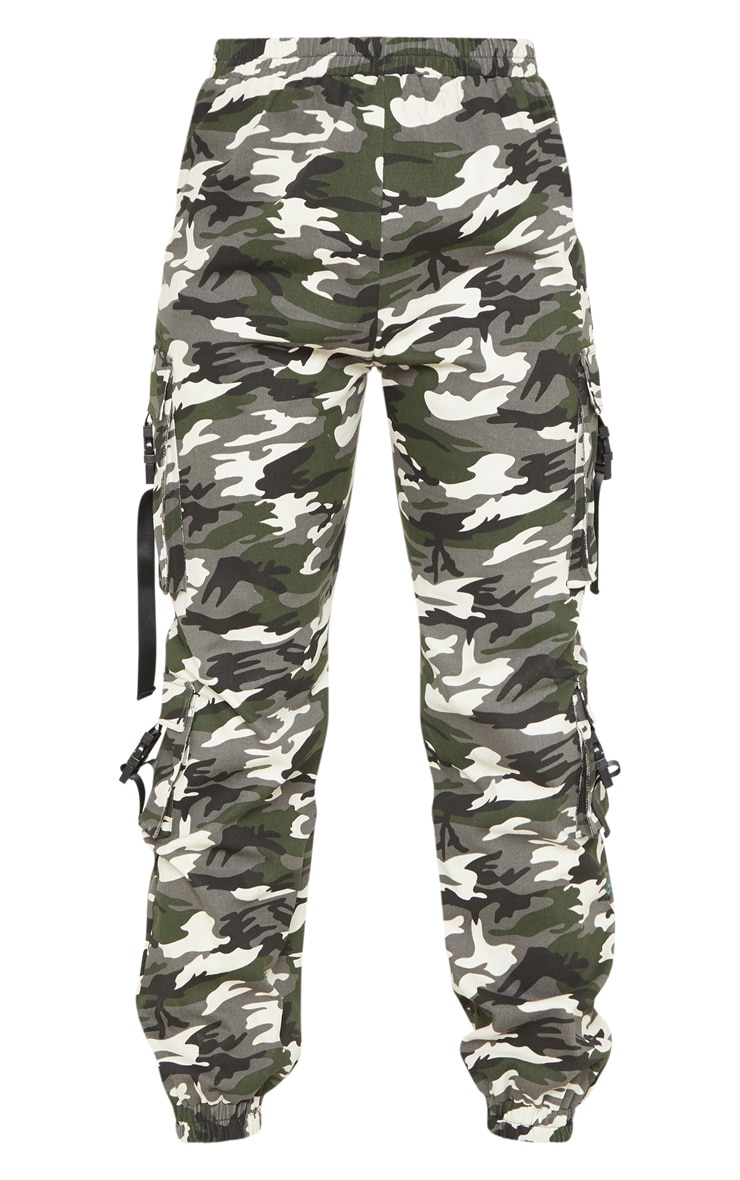 Tall Grey Camo Pocket Detail Cargo Trousers 3