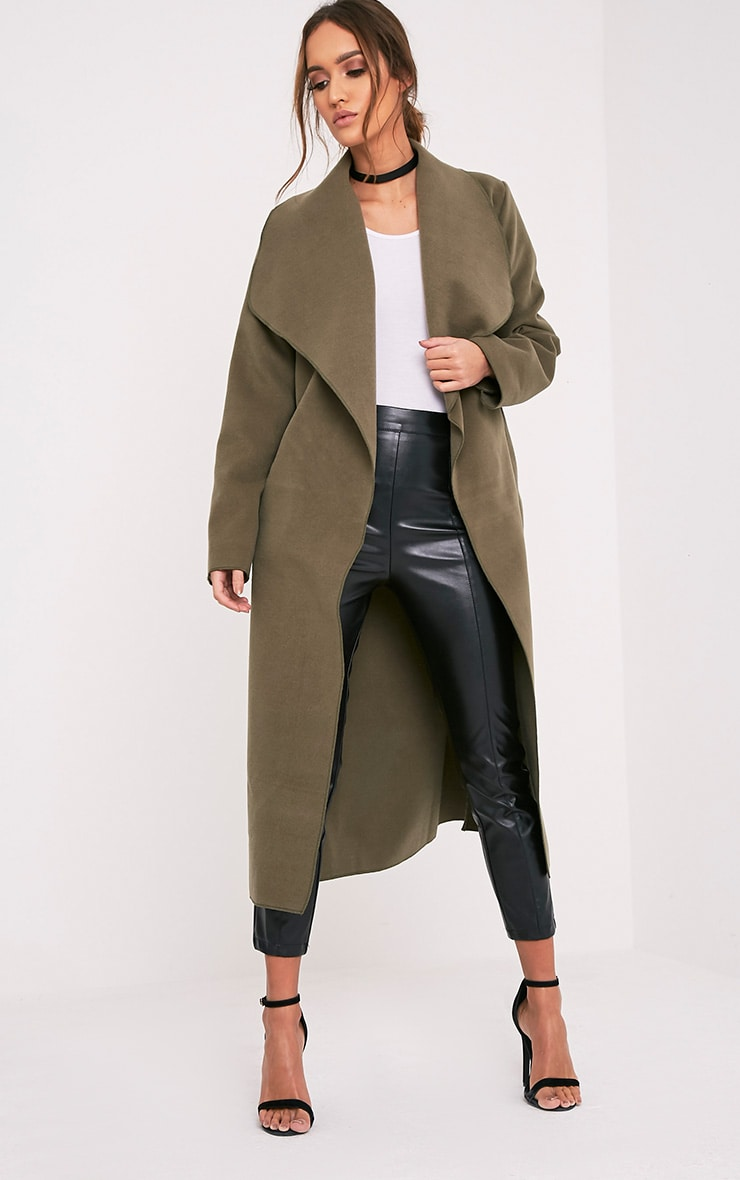 Veronica Khaki Oversized Waterfall Belt Coat 1