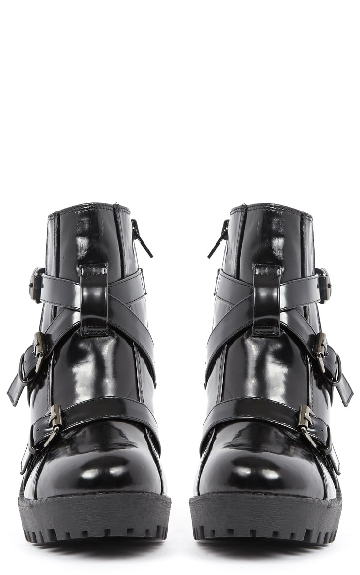 Stacie Patent Chunky Strap Buckle Boots 2