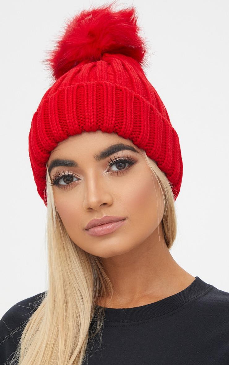 23ef0e65331b4 Red Faux Fur Pom Pom Ribbed Knit Beanie   PrettyLittleThing USA