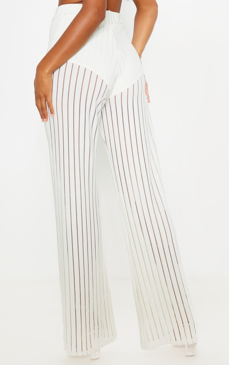 Ecru Mesh Stripe High Waisted Wide Leg Trousers 4