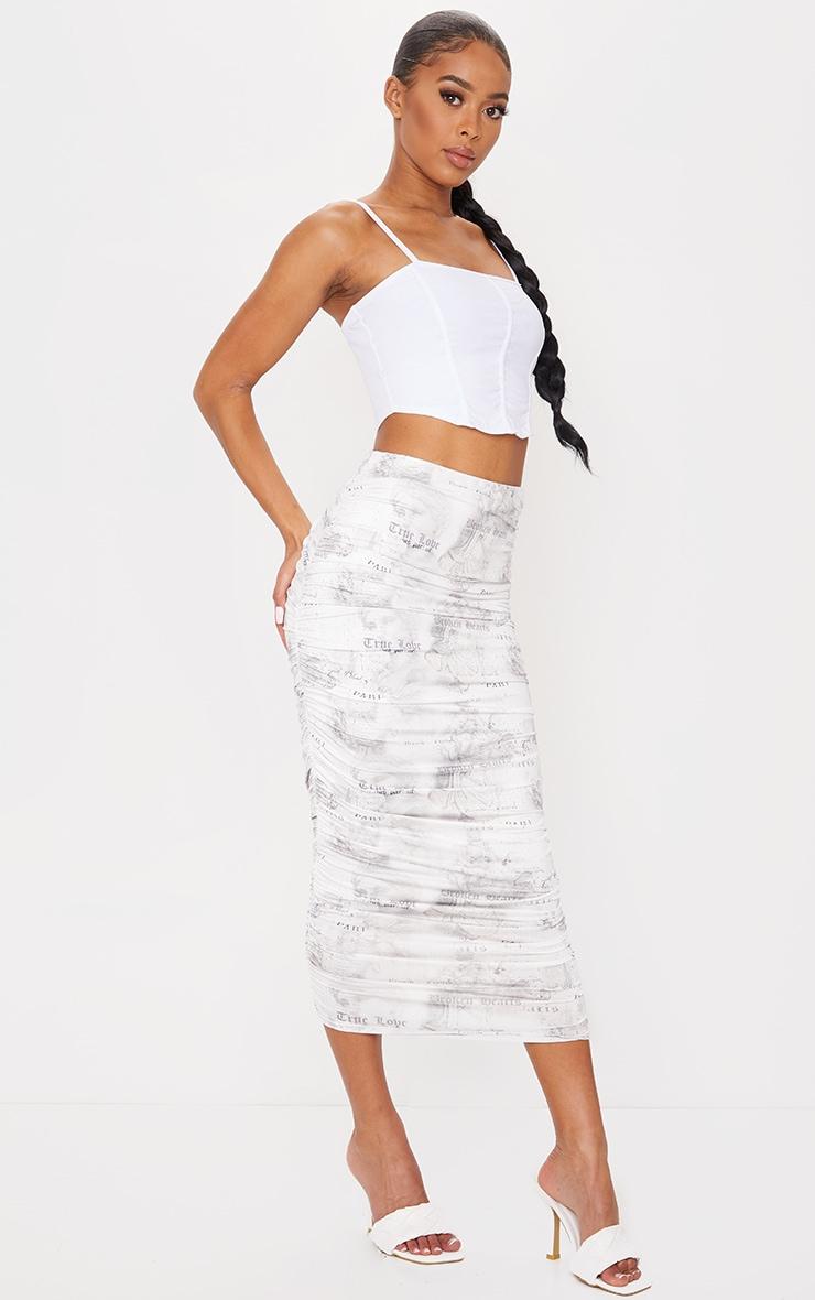 White Text Print Slinky Ruched Midi Skirt 1
