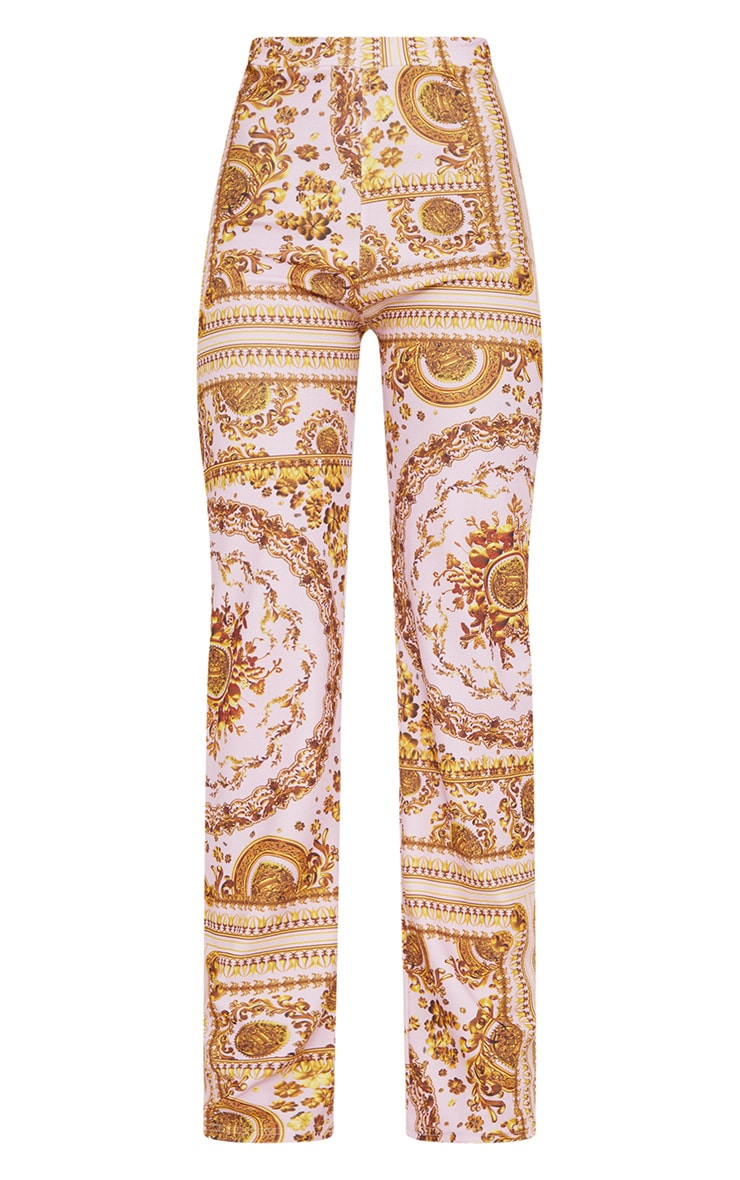 Baby Pink Scarf Print Straight Leg Trousers  3