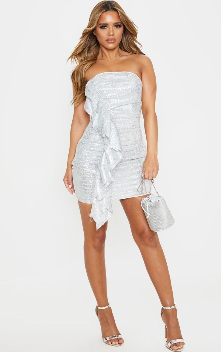 Petite Silver Frill Detail Sequin Mini Dress 4