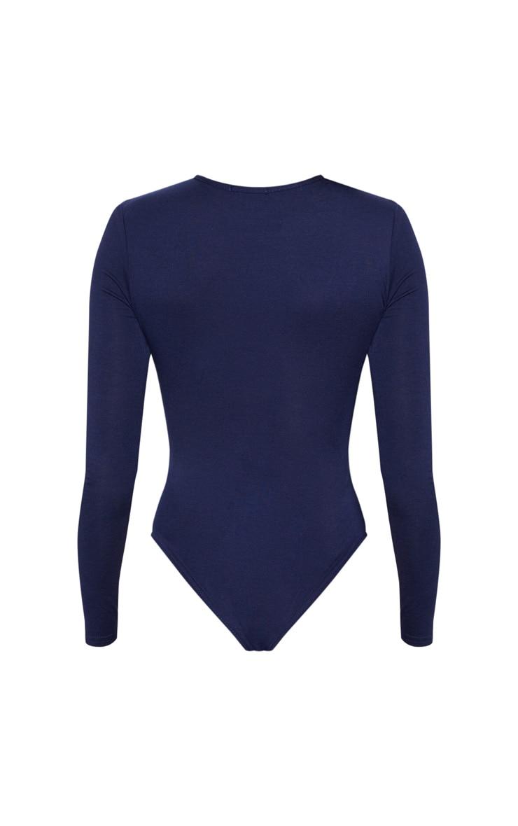 Navy Asymmetrical Jersey Thong Bodysuit 4