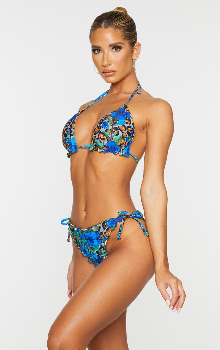 Blue Floral Animal Frill Edge Ruched Back Bikini Bottom 2