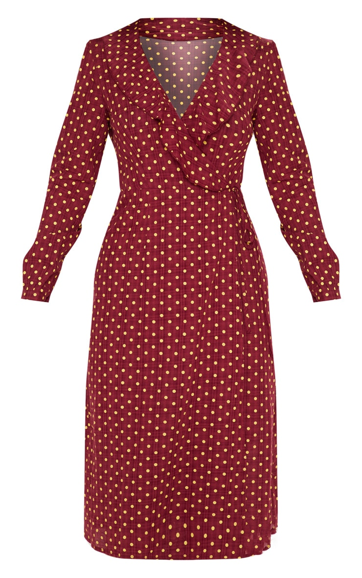 Burgundy Polka Dot Check Wrap Midi Dress 3