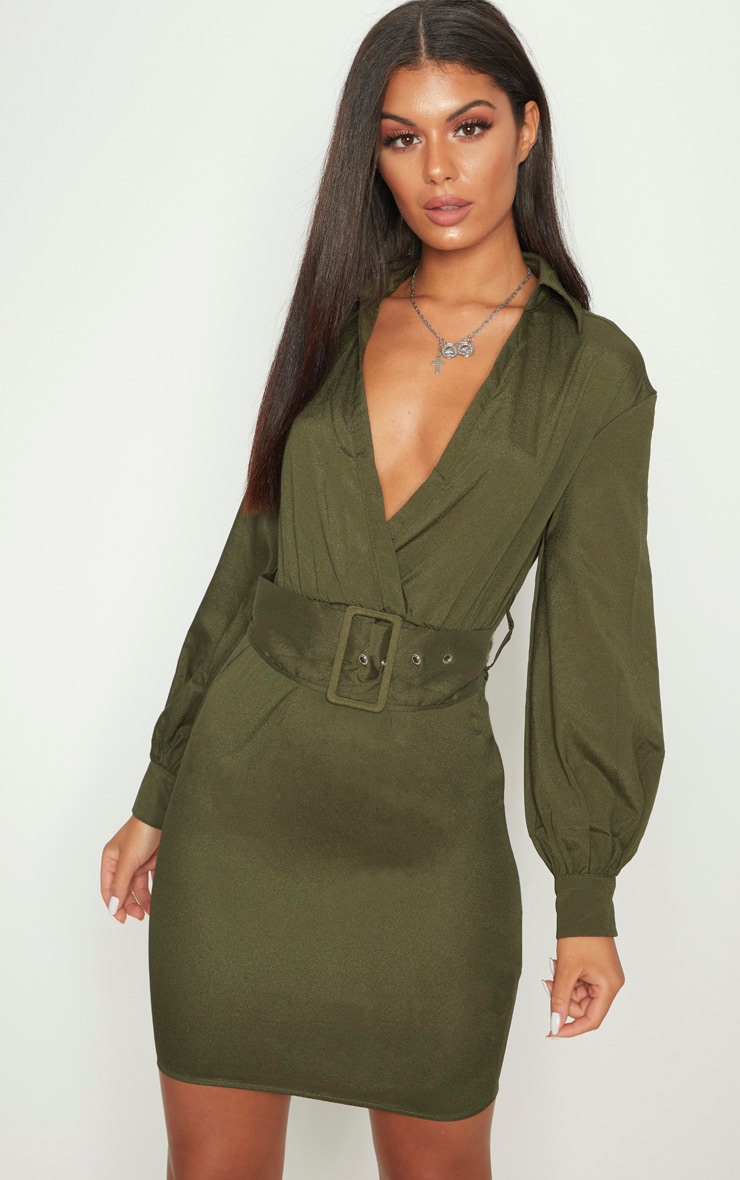PRETTYLITTLETHING Plunge Belted Shirt Dress Outlet Shopping Online Great Deals Cheap Price Outlet Store Sale Online Cheap Sale Fast Delivery Reliable Online PwPVk
