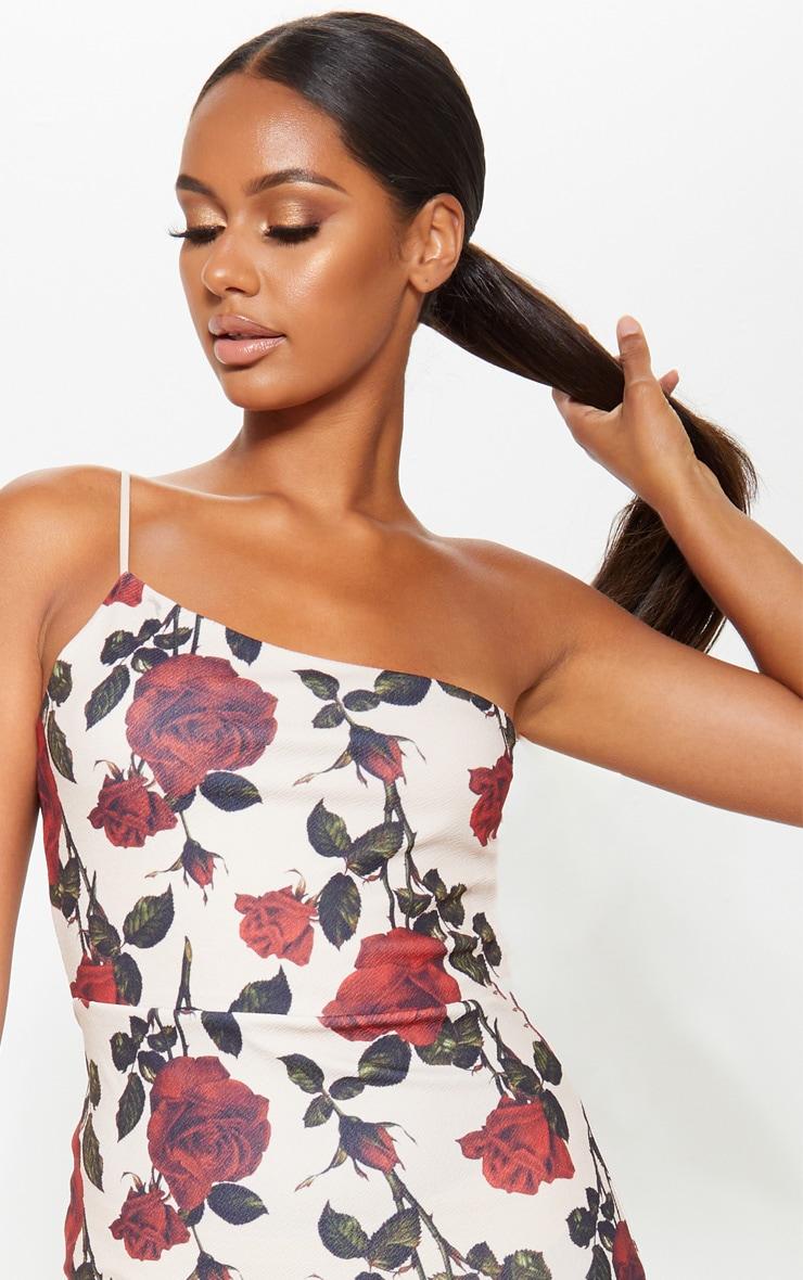 Nude Rose Print Strappy One Shoulder Frill Hem Midi Dress 5