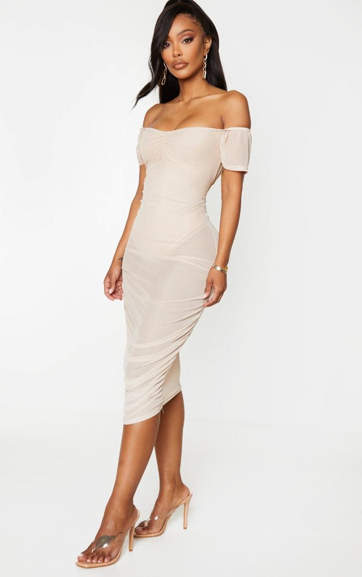 Shape Deep Nude Mesh Bardot Midi Dress 4