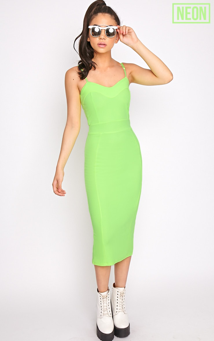 Traci Lime Bodycon Midi Dress 1