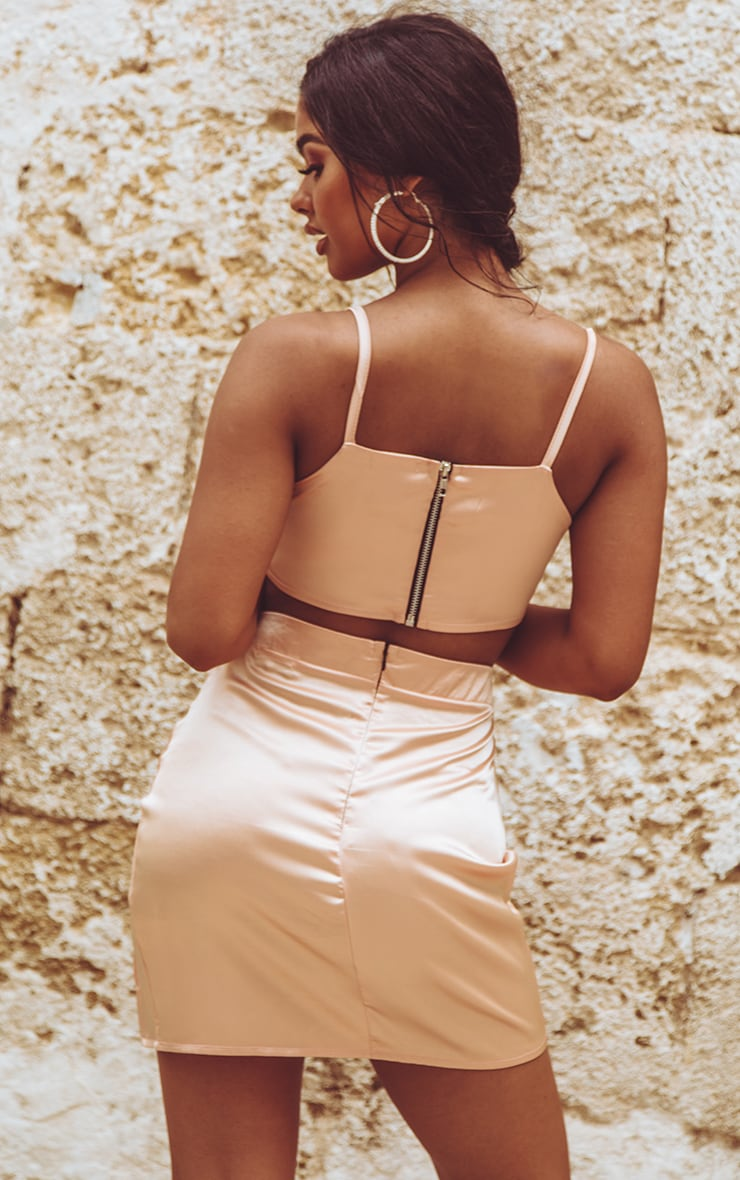 Peach Satin Scoop Neck Crop Top 2