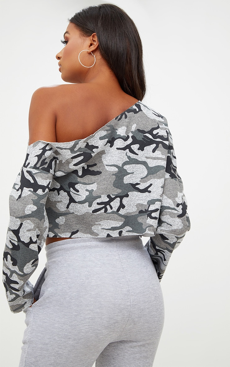 Grey Camo Off Shoulder Cropped Sweater 2