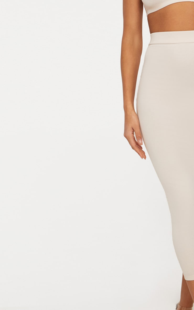 Cream Second Skin Bodycon Midaxi Skirt 6