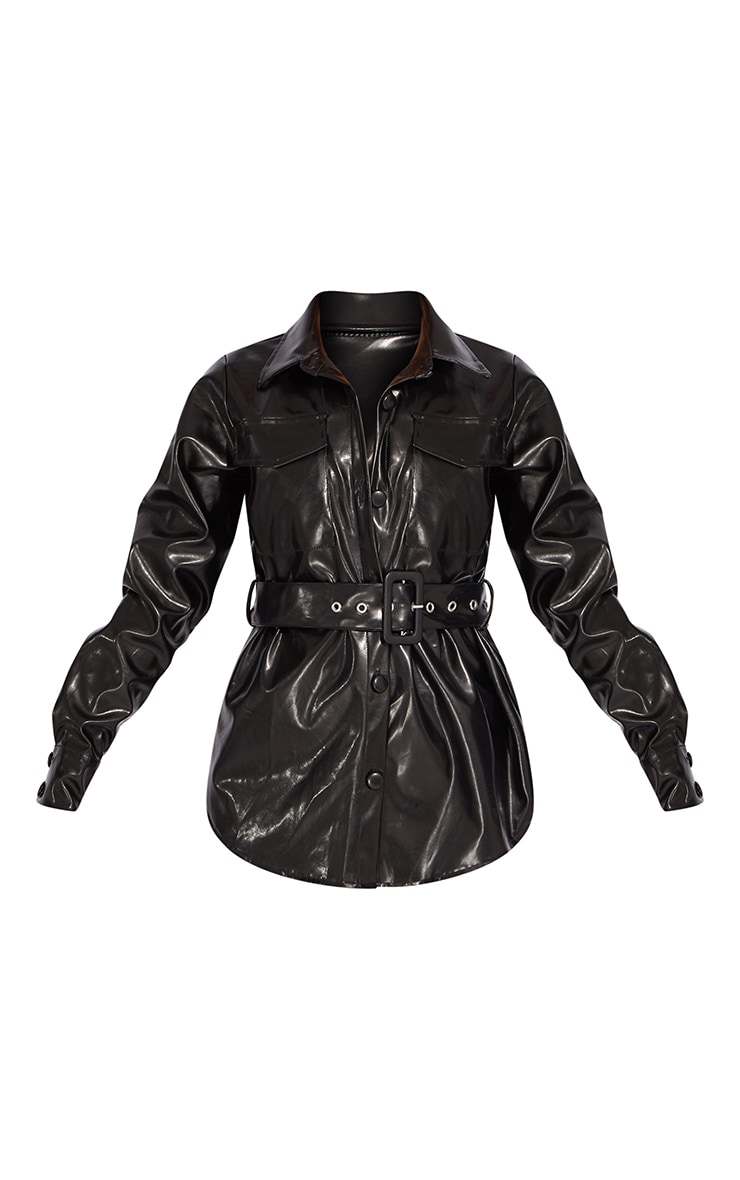 Petite Black PU Buckle Detail Jacket 5