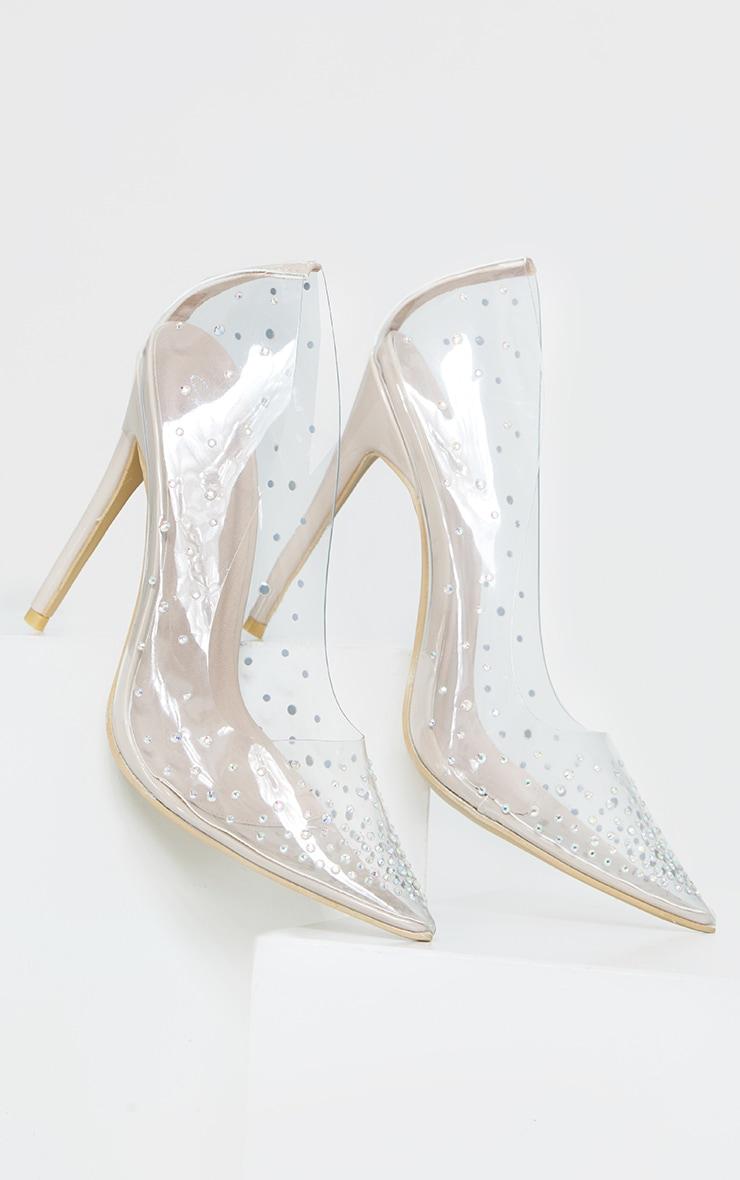 Clear Diamante Court Shoes 3