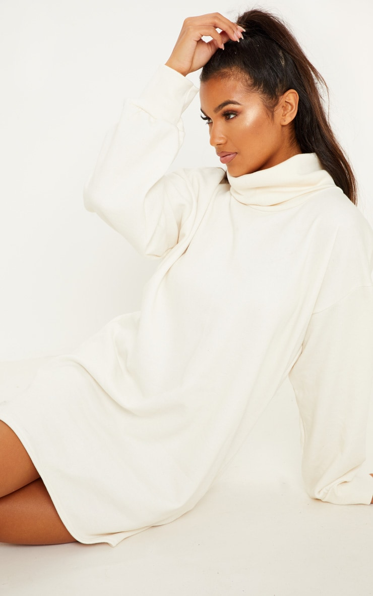 Cream Oversized Sweat Roll Neck Jumper Dress 5