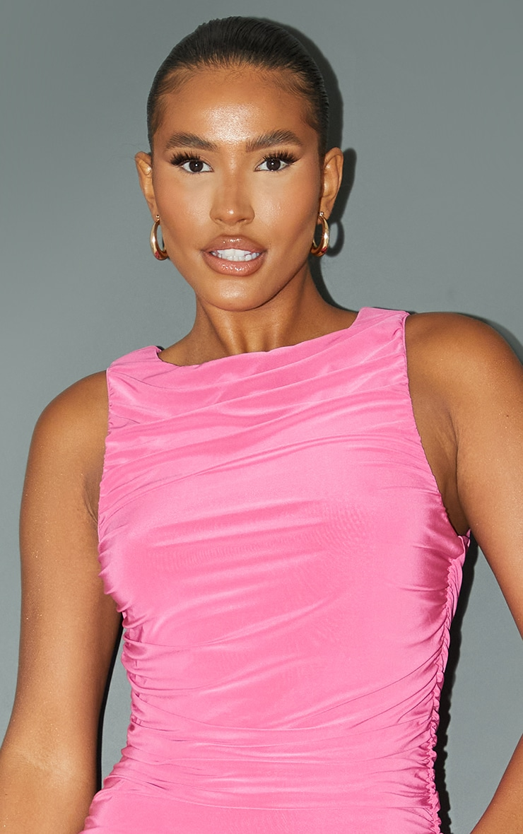 Pink Slinky Ruched Side Seam Sleeveless Bodycon Dress 4