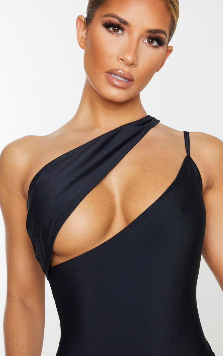 Black Asymmetric Double Strap Swimsuit 5