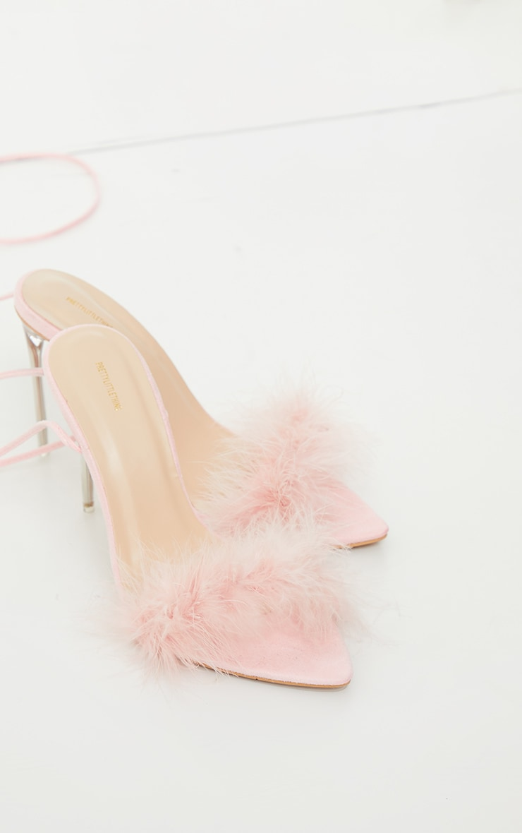 Pink Feather Lace Up Clear High Heels 3