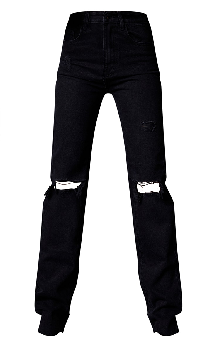 PRETTYLITTLETHING Tall Black Ripped Long Leg Straight Jeans 5