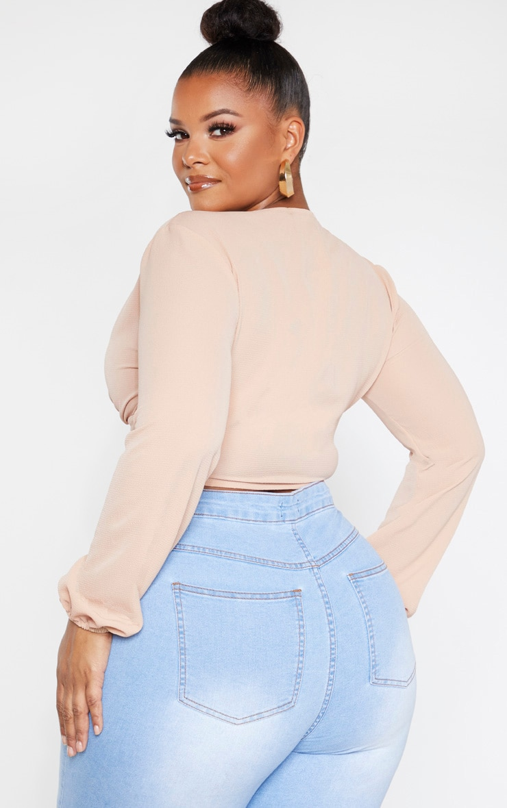 Plus Camel Button Front Crop Top  2