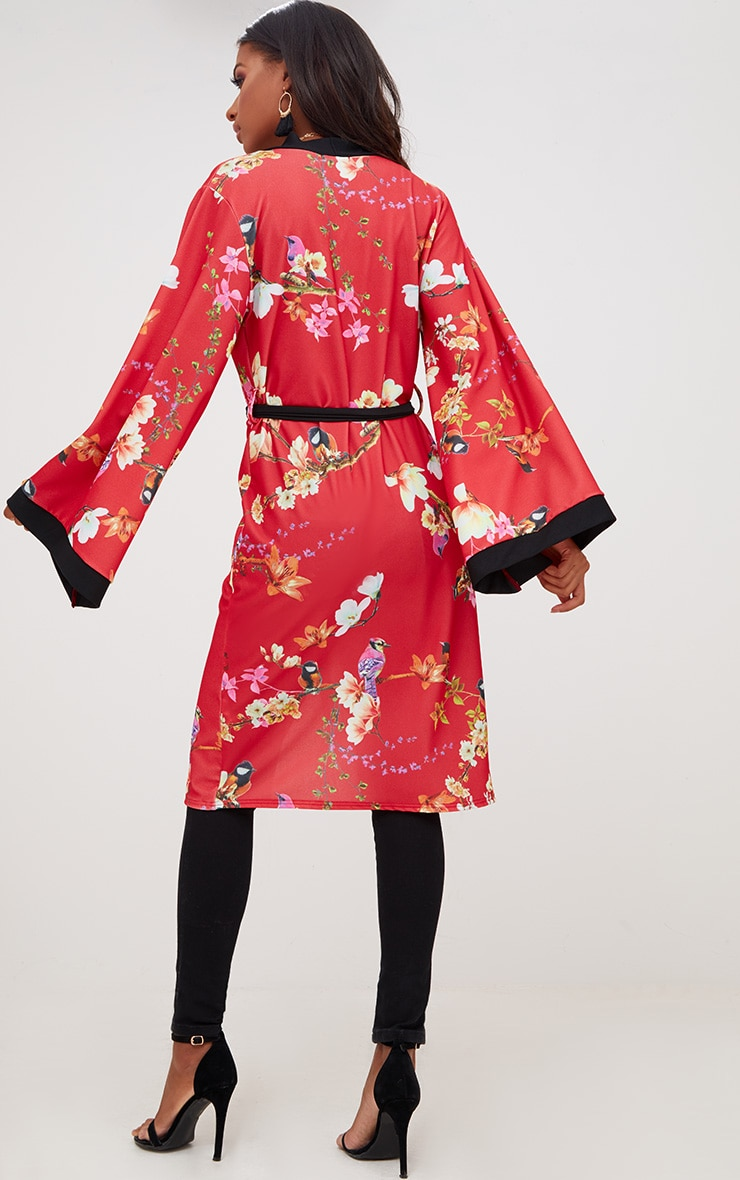 Red Oriental Belted Kimono Jacket 2