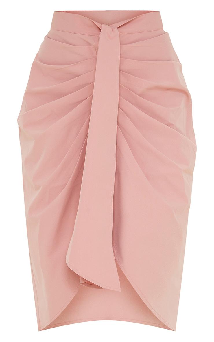Dusty Pink Foldover Button Through Midi Skirt 5