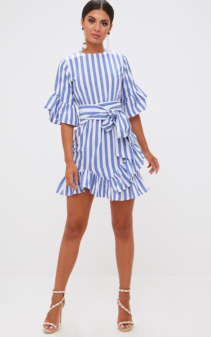 Blue Stripe Frill Detail Mini Dress 4