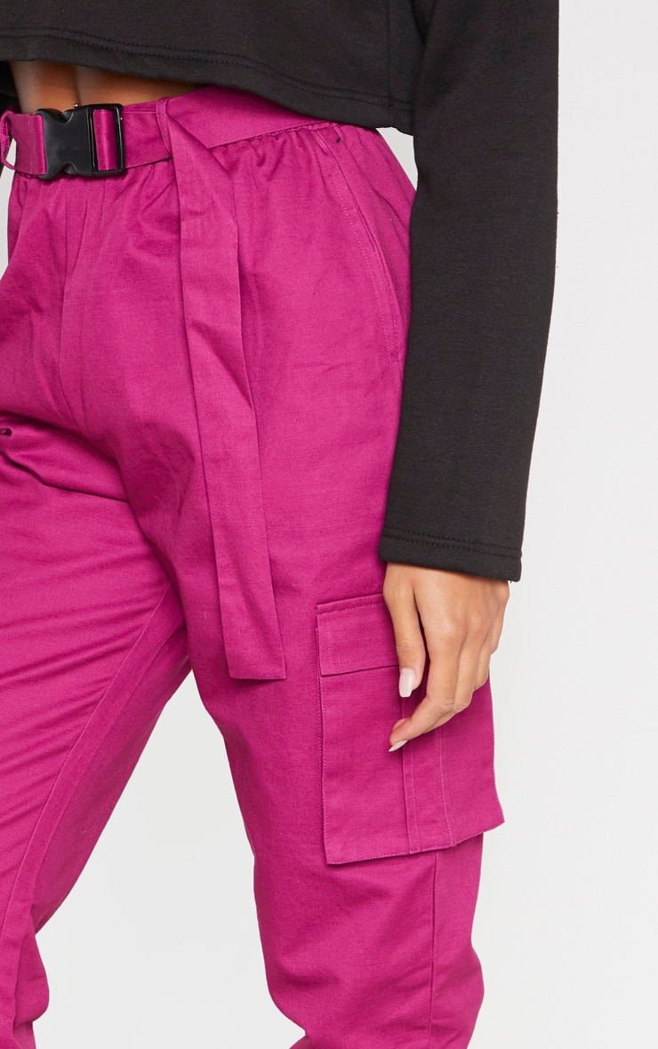 Washed Violet Utility Buckle Belt Track Pants 5